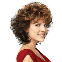 1pc 30cm Ms Two Color Gold And Brown Gradient Small Volume Short Curly Hair Wigs Elegant
