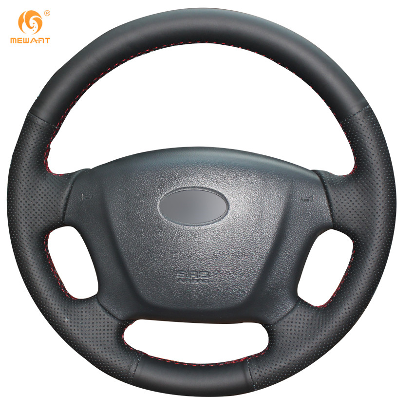 MEWANT Black Artificial Leather Car Steering Wheel Cover for Kia Carens 2007-2011