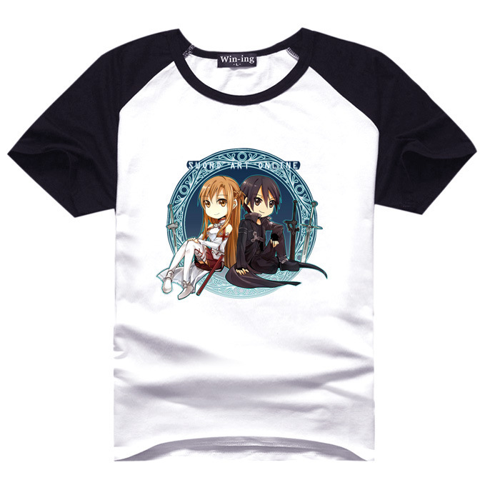2015 new colorful printing Sword art online Kirito/Asuna print lovely Anime Summer T shirt AC23