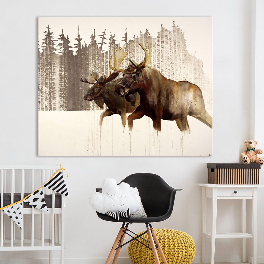 Aliexpress.com: Comprar AAHH pared arte lienzo cuadro alces animales ...