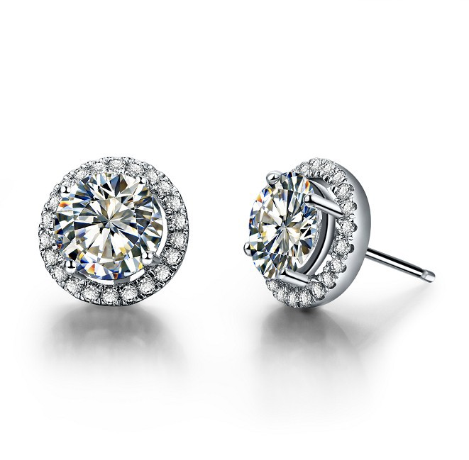 Halo Earrings Paved Around 18k Gold 1 Ct Piece Diamond Stud Female Engagement Round Sona Bride Jewelry In From Accessories