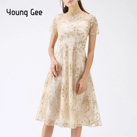 Young Gee Spring Summer Women Runway Dresses Lace Embroidery Floral Sequined Elegant Party Dress Femme Tunic Fashion Vestidos