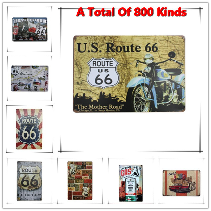 Chic Home Bar U.S. Round 66 Vintage Metal Signs Home Decor Vintage Tin Signs Pub Vintage Decorative Plates Metal Wall Art