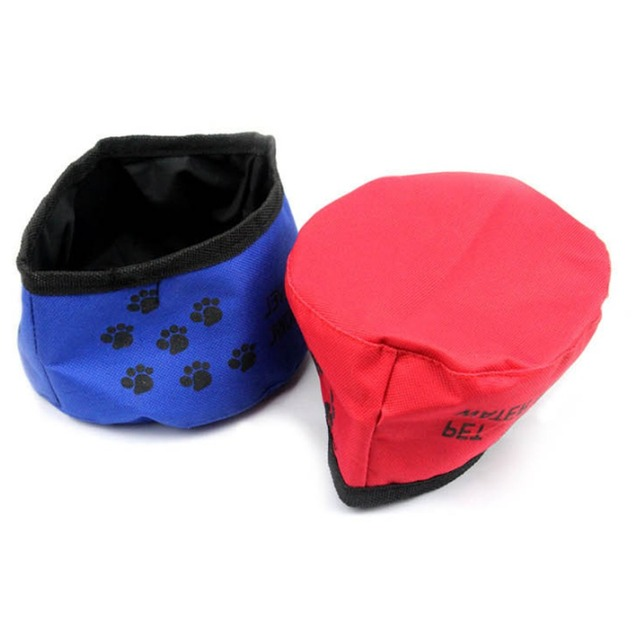 Waterproof Fabric Pets Portable Folding Travel Water Bowl For Dog Cat Food Feeder Drinking
