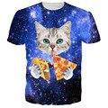Nueva moda cat camiseta 3d impreso azul/rojo galaxy camiseta ocasional animal de la camiseta de los hombres/de las mujeres divertidas camiseta homme unisex clothing