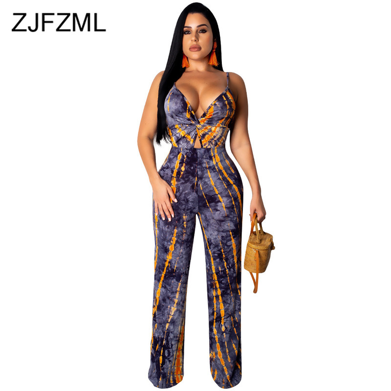Tie Dye Print Sexy Bodycon Jumpsuits Women Spaghetti Strap Sleeveless Wide Leg   Romper   Summer Deep V Neck Open Back Beach Overall