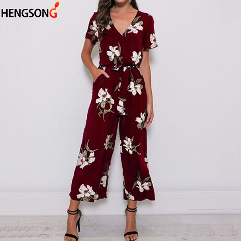 Summer Jumpsuit Fashion Women Romper Loose Casual Beach Wear Printed Pocket Sashes Jumpsuit Overalls Office Lady Bodysuit Women