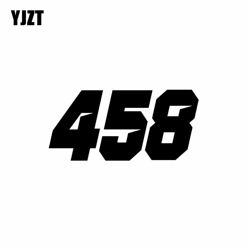 YJZT 17CM*8CM Interesting Number 458 Vinyl Car Sticker Graphical Decal Black/Silver Accessories C11-0873