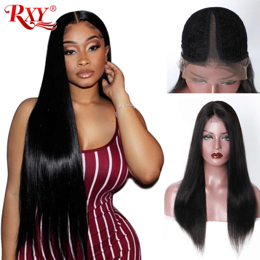 RXY Glueless Lace Frontal Human Hair Wig For Black Women Brazilian T Part Wig Straight Lace Wigs Pre Plucked With Baby Remy Hair