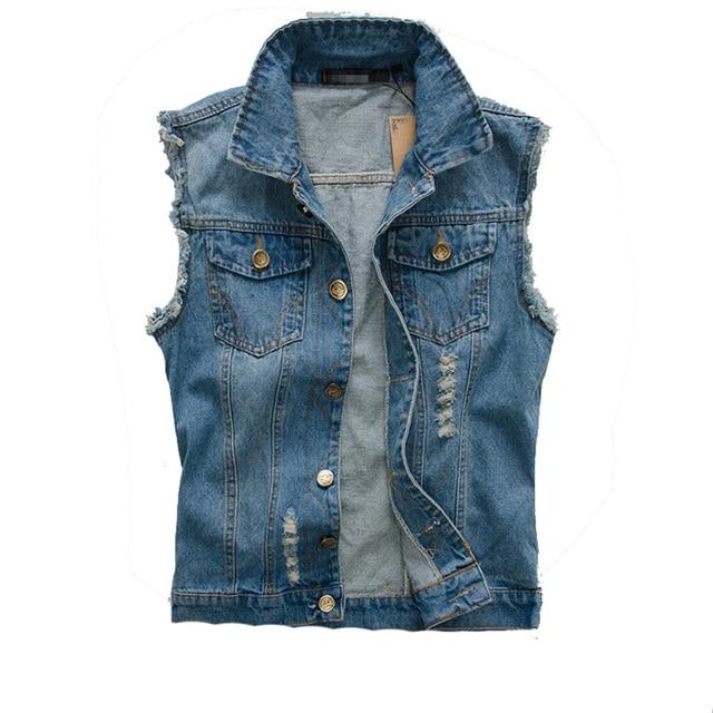 76c97f470ff DIMUSI 2017 Mens Denim Vest Vintage Sleeveless washed jeans waistcoat Man  Cowboy ripped HIp Hop Jacket