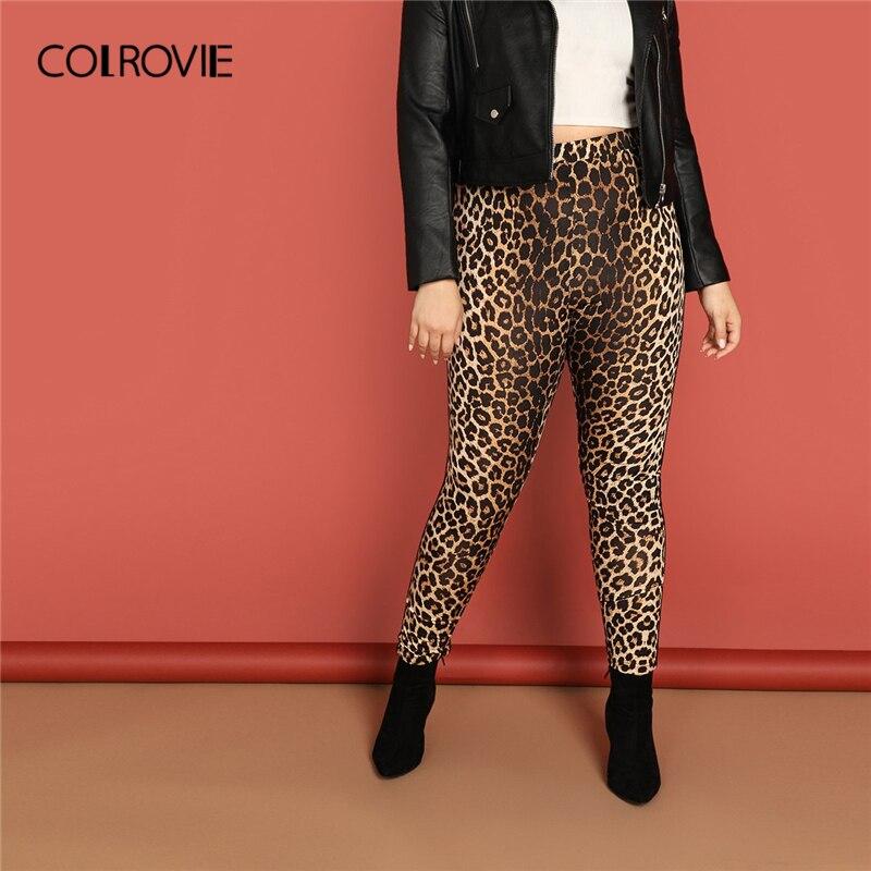 COLROVIE Plus Size Leopard Print Active Wear Casual   Leggings   Female Pants 2019 Spring Korean Basic Elastic Waist Skinny Trousers