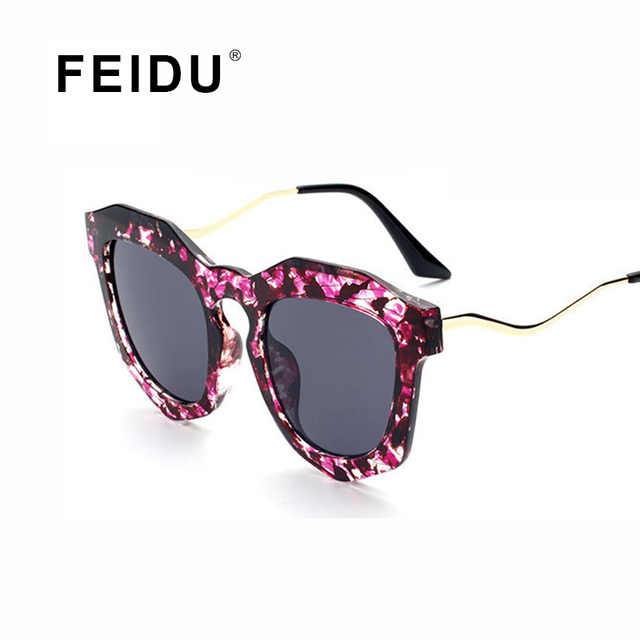 030781e0f8e FEIDU Fashion Cat Eye Sunglasses Women Brand Coating Mirror Floral Frame  Sun Glasses Women Eyewear Famale
