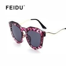 Feidu мода cat eye солнцезащитные очки женщины марка покрытие зеркало цветочные рамка Солнцезащитные Очки Женщин Очки Óculos Де Золь Famale С коробка