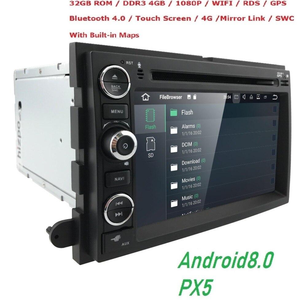 Android8.0 de 4 GB + 32 GB reproductor de DVD del coche de navegación GPS para Ford F150 F250/F350 Explorer borde Mustang escapar Mercury Milan Mountaineer