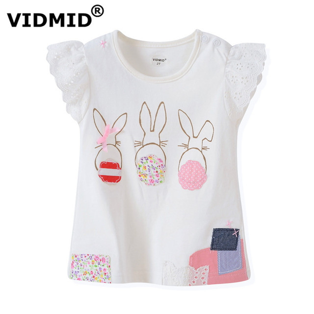 VIDMID New Quality 100% Cotton Baby Girls t-shirt Short Sleeve Kids Clothes Brand Summer Tee T-Shirt Baby Girls Clothing