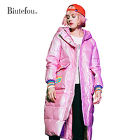 2019 New arrival winter warm white duck down hooded down jackets women fashion thick pink coats