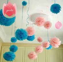 Diameter 20cm 5pcs lot Paper artificial PomPom Tissue Balls Flowers for Home Wedding Party Car Decoration
