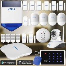 Интеллектуальная Беспроводная KERUI Wi-Fi PSTN Главная Охранной Сигнализации + Беспроводной ip-камера + солнечной сирена + Портативный домашний sucerity система