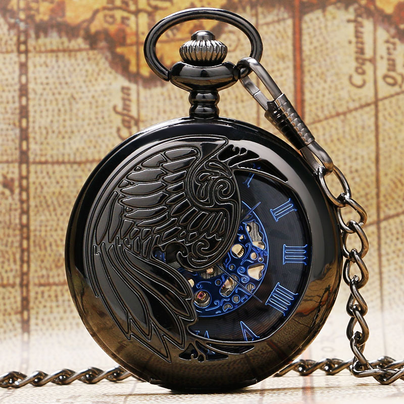 New Arrival Black Peacock Hollow Case Design With Blue Roman Number Skeleton Dial Fob Pocket Watch With Chain