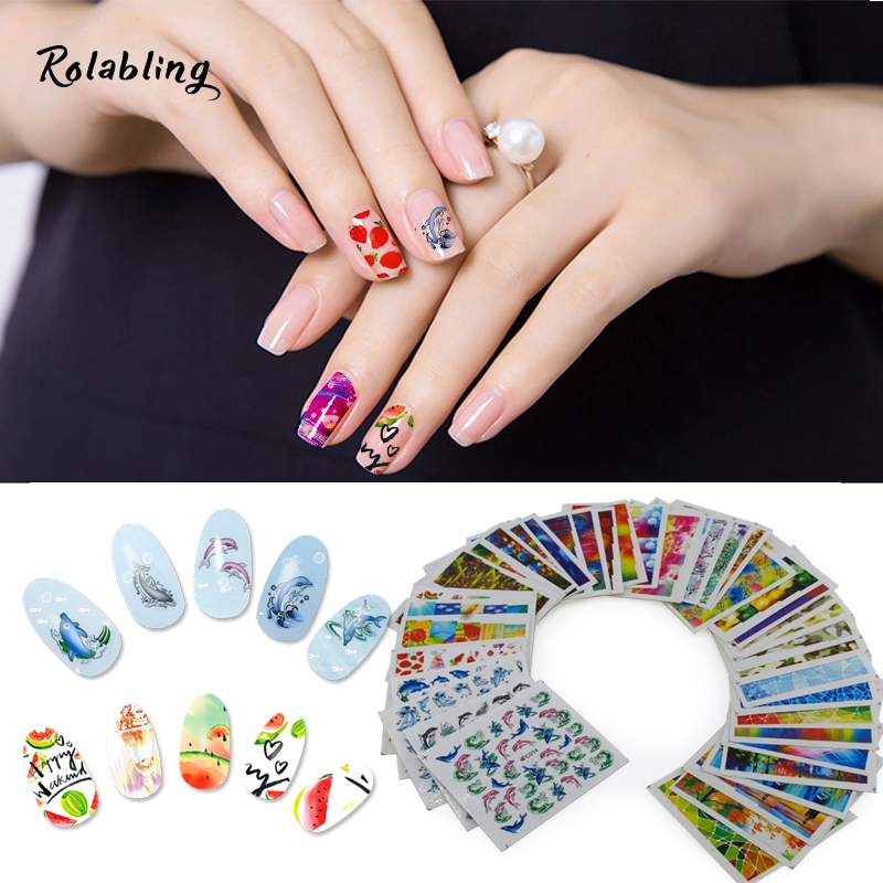 40Sheets Broken Glass & Oil Painting Creative Design Colorful Mixed Decals Nail Art Decorations Nail Sticker For Tips Design iarts aha072962 hand painted thick texture of knife painting trees oil painting red 60 x 40cm