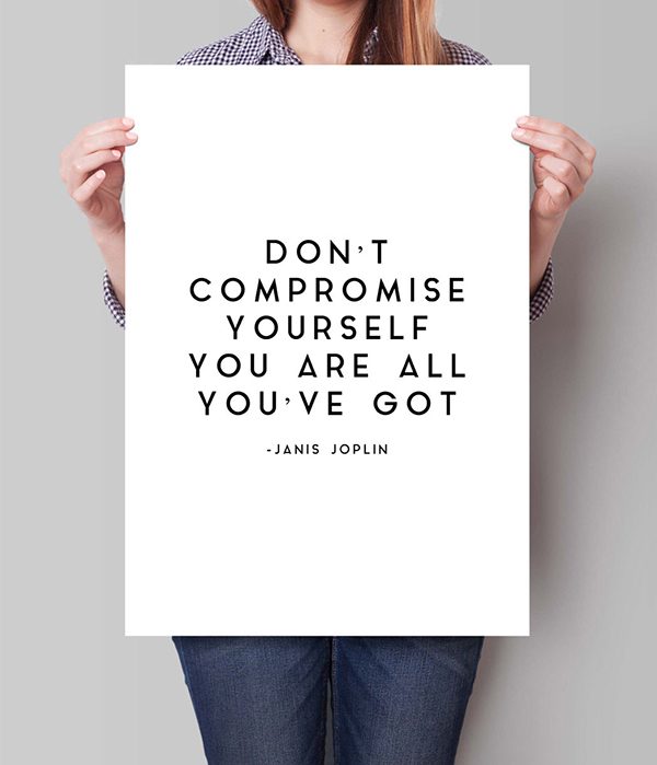 Janis Joplin Motivational Quote Canvas Wall Art