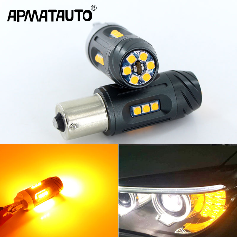 2x High Power 24W Amber BAU15S 7507 PY21W Canbus LED Replacement Bulbs For BMW F22 F30 F32 2 3 4 Series Front Turn Signal Lights amber error free pwy24w pw24w led bulbs for audi a3 a4 a5 q3 vw mk7 golf cc front turn signal lights for bmw f30 3 series drl