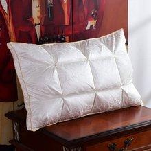 3D Ganso/Duck Abajo Almohada ropa de cama rectángulo almohadas Cuello natural Tela de seda + algodón Cubierta exterior para 1 unid