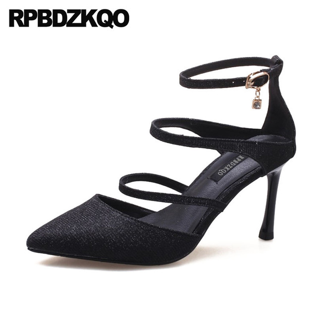 Size 33 Pointed Toe Stiletto Glitter Pumps 3 Inch Big Strappy High Heels  Party Evening Women Ankle Strap Prom Shoes 2018 Dress