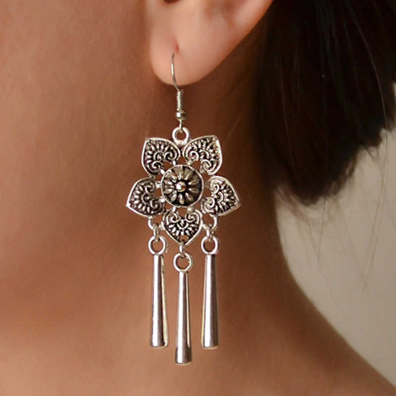 Indian Drop Earring Female Jewelry Ethnic Boho Silver Color Earrings for Women Vintage Geometric Flowers Metal Tassel Earring
