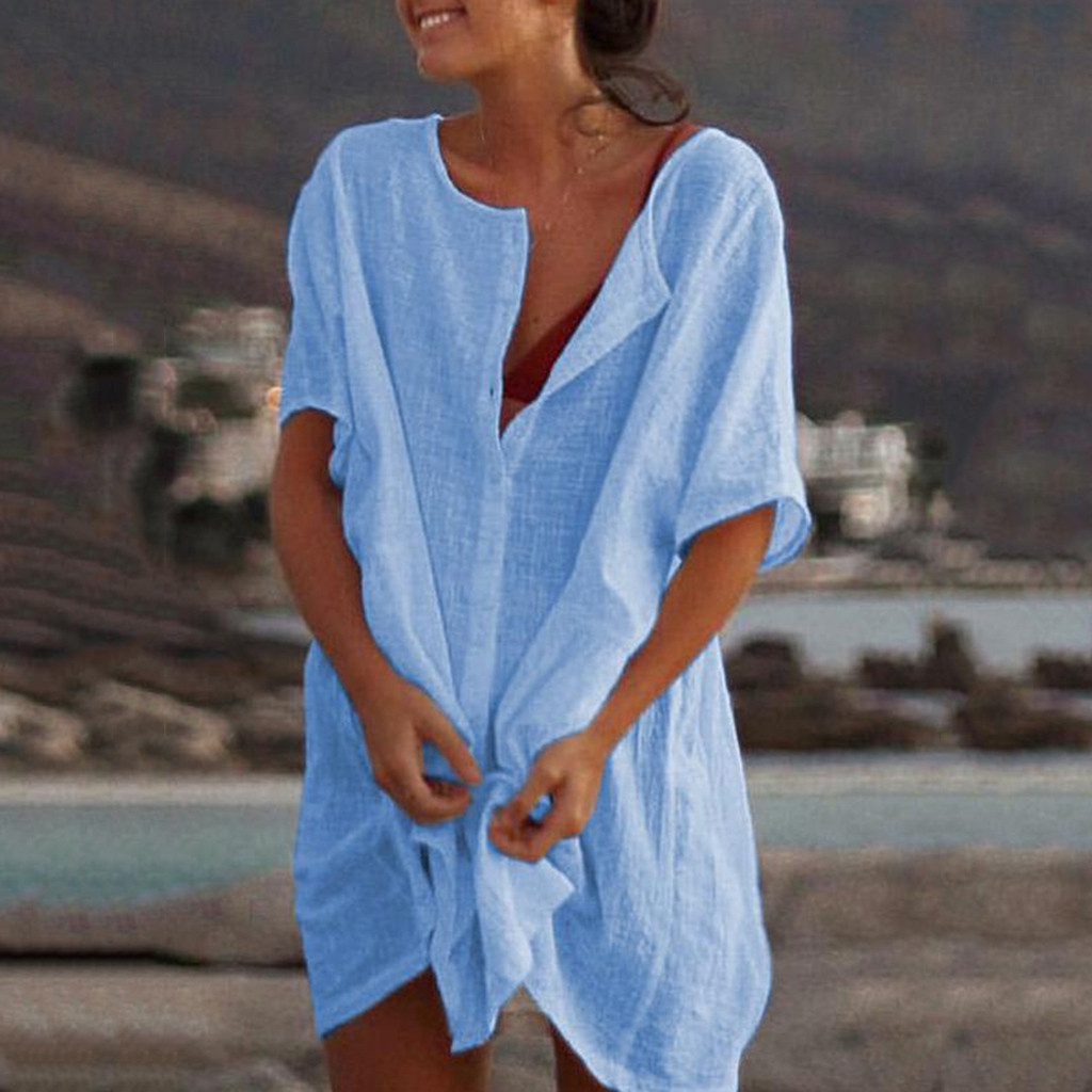 Women's Botton Tunic Dress Casual V-neck Solid Color Dress Boho Dress casual women short sleeve office#P5