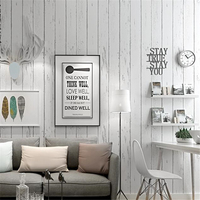 wellyu White striped vintage mediterranean wallpaper nostalgic wood grain non woven wall paper bedroom living room 3d wallpaper
