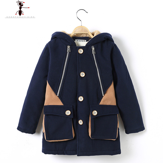 2016 Woolen Hooded GFMY Black Brown Single Breasted Thick Boys Winter Coat Children Wool Jacket 1636