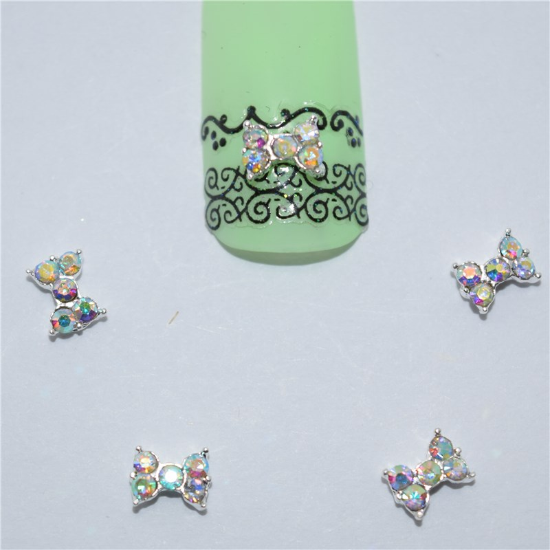 10psc New  Small colored diamonds bow 3D Nail Art Decorations,Alloy Nail Charms,Nails Rhinestones  Nail Supplies #042 10psc new pearl colored flow glitter rhinestones 3d nail art decorations alloy nail charms nails rhinestones nail supplies 687