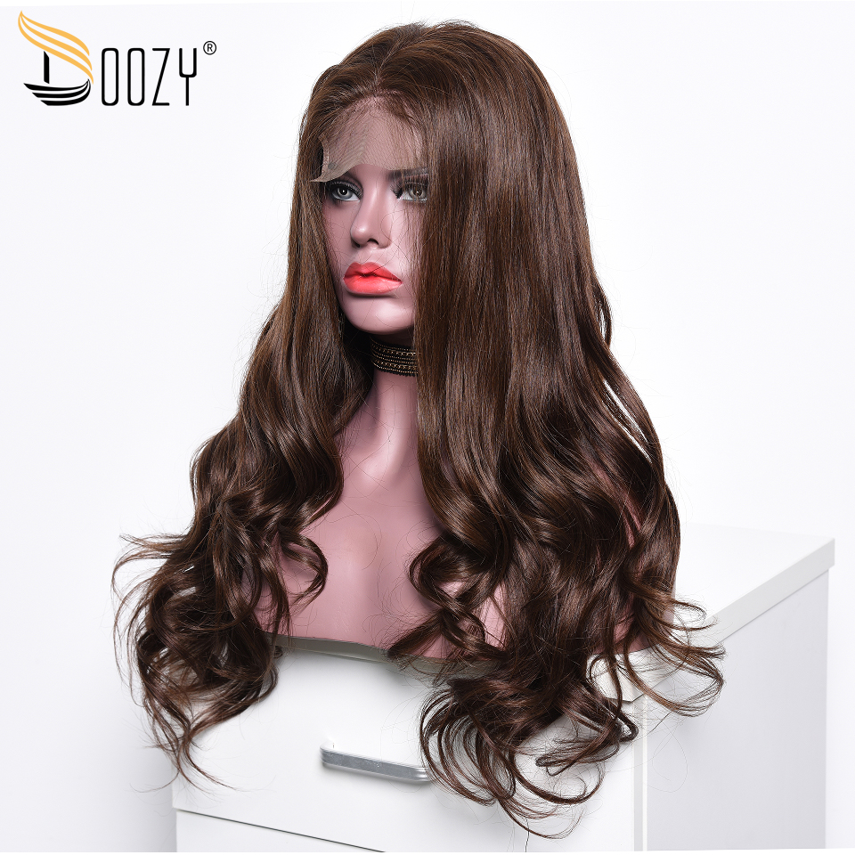 Doozy Brazilian Hair Wig 250% Density Color 4 Medium Brown Remy Body Wave Lace Front Human Hair Wigs