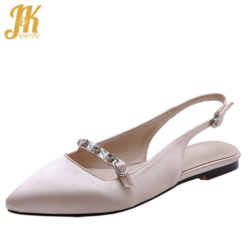 JK Summer Sandals Woman Flat Sandals Women 2019 New Satin Dress Crystal Shoes Female Fashion Ballet Pointed Toe Shoes Ladies