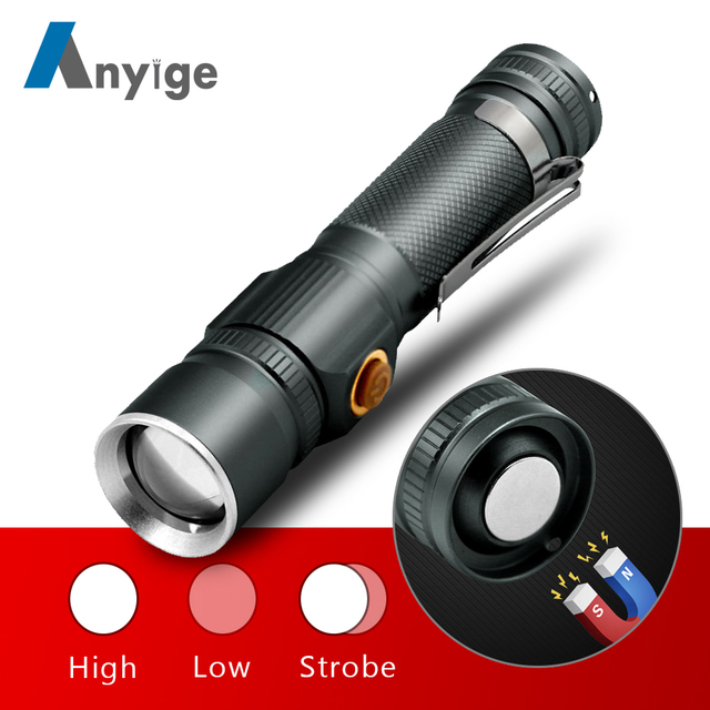 ANYIGE XML T6 LED Highlight Handy Powerful Alloy Top Flashlight Power Tips Aluminum Zoomable Mini Flash light 18650 Rechargeable