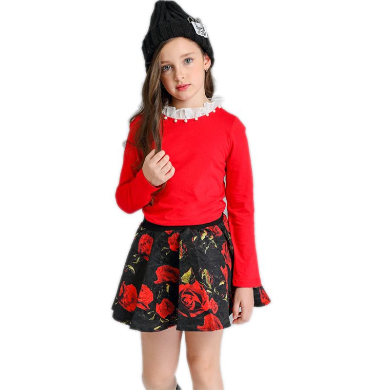 girl clothes sets 2017 new spring children clothing top solid pears long sleeve t shirt+rose printed skirt 2pcs girls sets 2-7T brand new spring autumn girls clothing t shirt long sleeves red black children cute long t shirt school shirt top tees gh048