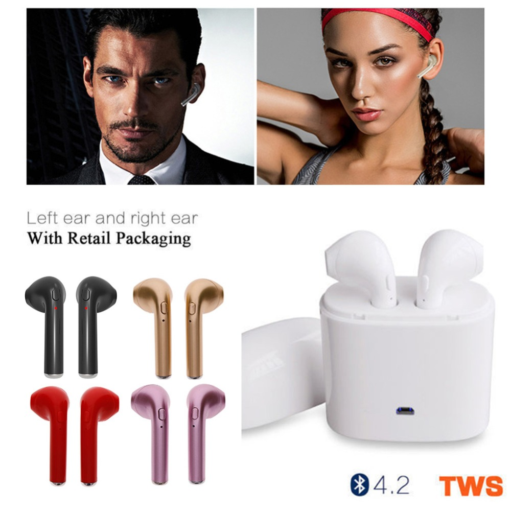 TWS V4.2 Wireless Earphone Bluetooth Pair In-Ear Music Earbuds Set For Apple iPhone 6 7 Samsung Xiaomi Sony Head Phone #271034