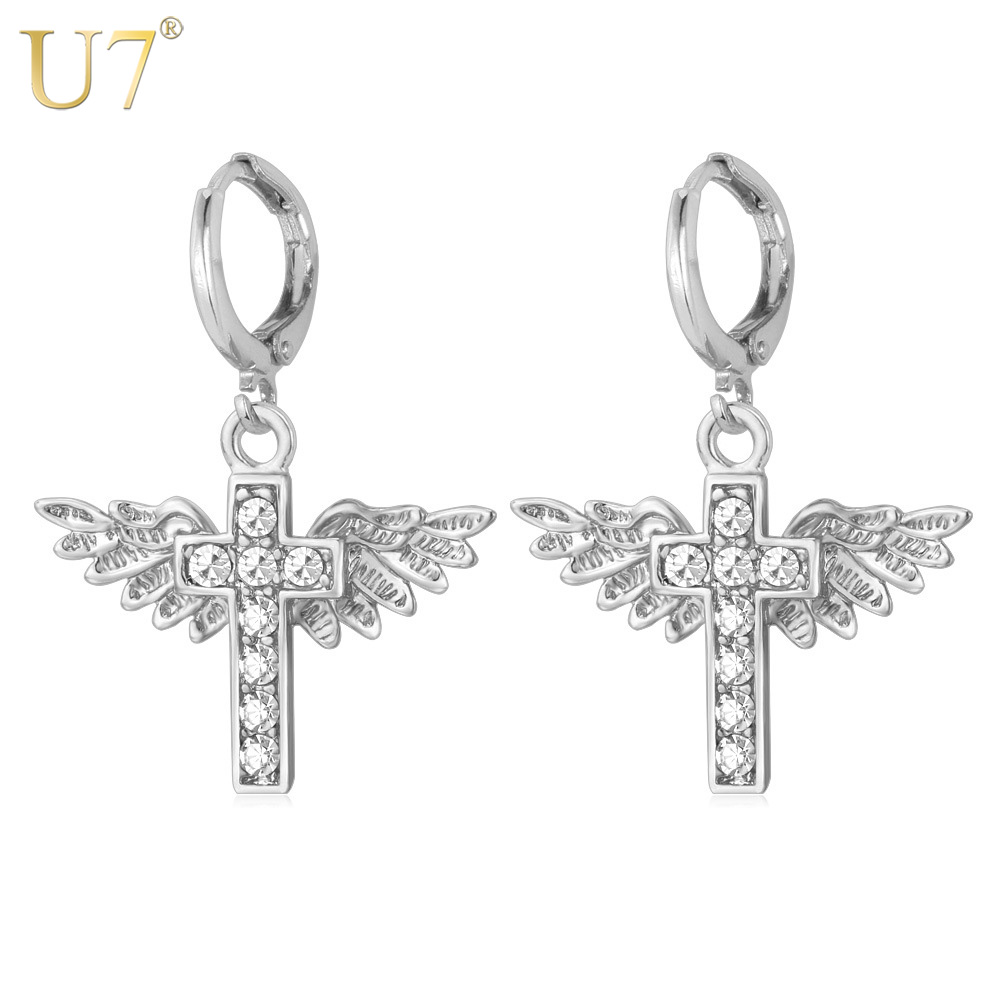 U7 Angel Wings Crystal Earrings For Women Religious ...