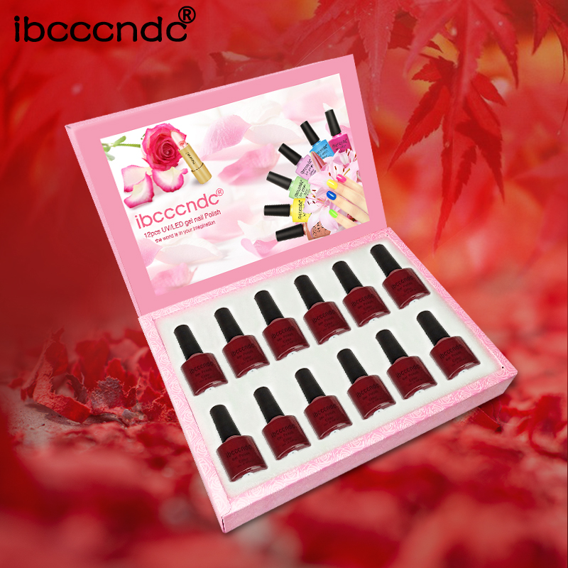 Nail Art Design Set Nail Gel Polish 10ml Wine Red Series Nail Polish UV Gel Soak Off Varnish Manicure 12 Pcs/Lot