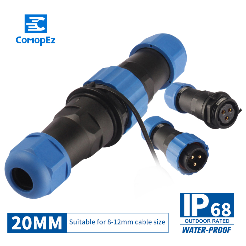 SP20 IP68 <font><b>Cable</b></font> Connector Plug & Socket Male and Female 2/3/4/5/7/9/10/<font><b>12</b></font>/14 <font><b>Pin</b></font> SD20 20mm Waterproof Connectors image