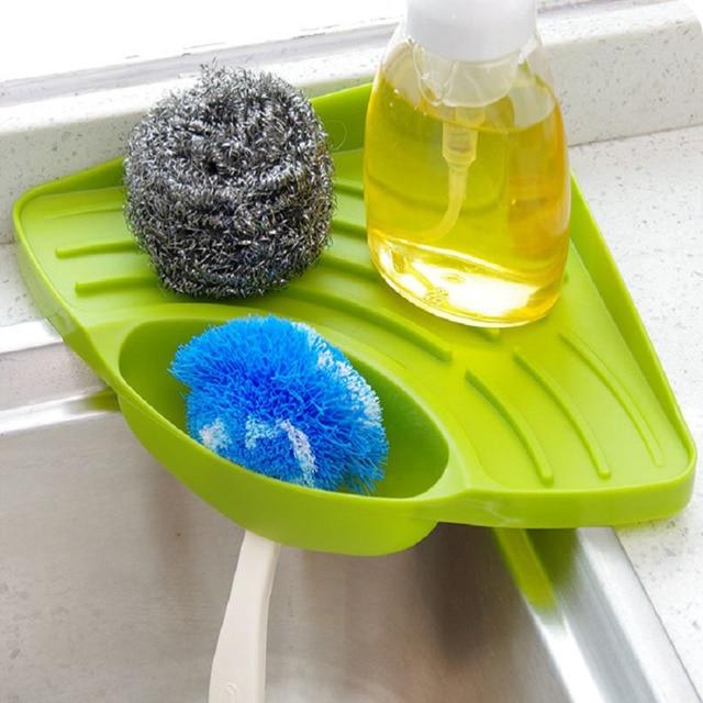 Kitchen Sink Corner Storage Rack Sponge Holder Wall Mounted Dishes Drip  Rack Bathroom Soap Dish Wall