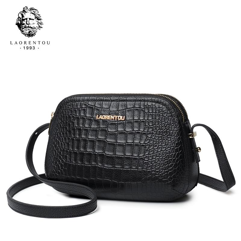 Laorentou Women Crossbody Bags Fashion Leather Bags Retro Alligator Shoulder Bag Purse Lady Tote Bag Valentine's Day Gift-in Bolsos de hombro from Maletas y bolsas    2