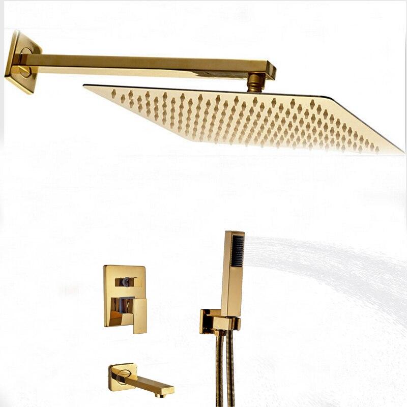 Wholesale And Retail Golden Brass Square Rain Shower Head Faucet Tub Spout Hand Unit 3 Ways