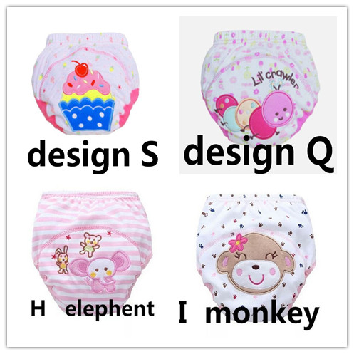 4pcs Dipers Mix Color  Baby Training Pants Baby Diaper Reusable Nappy Washable Diapers Cotton Learning Pants 13-16kg