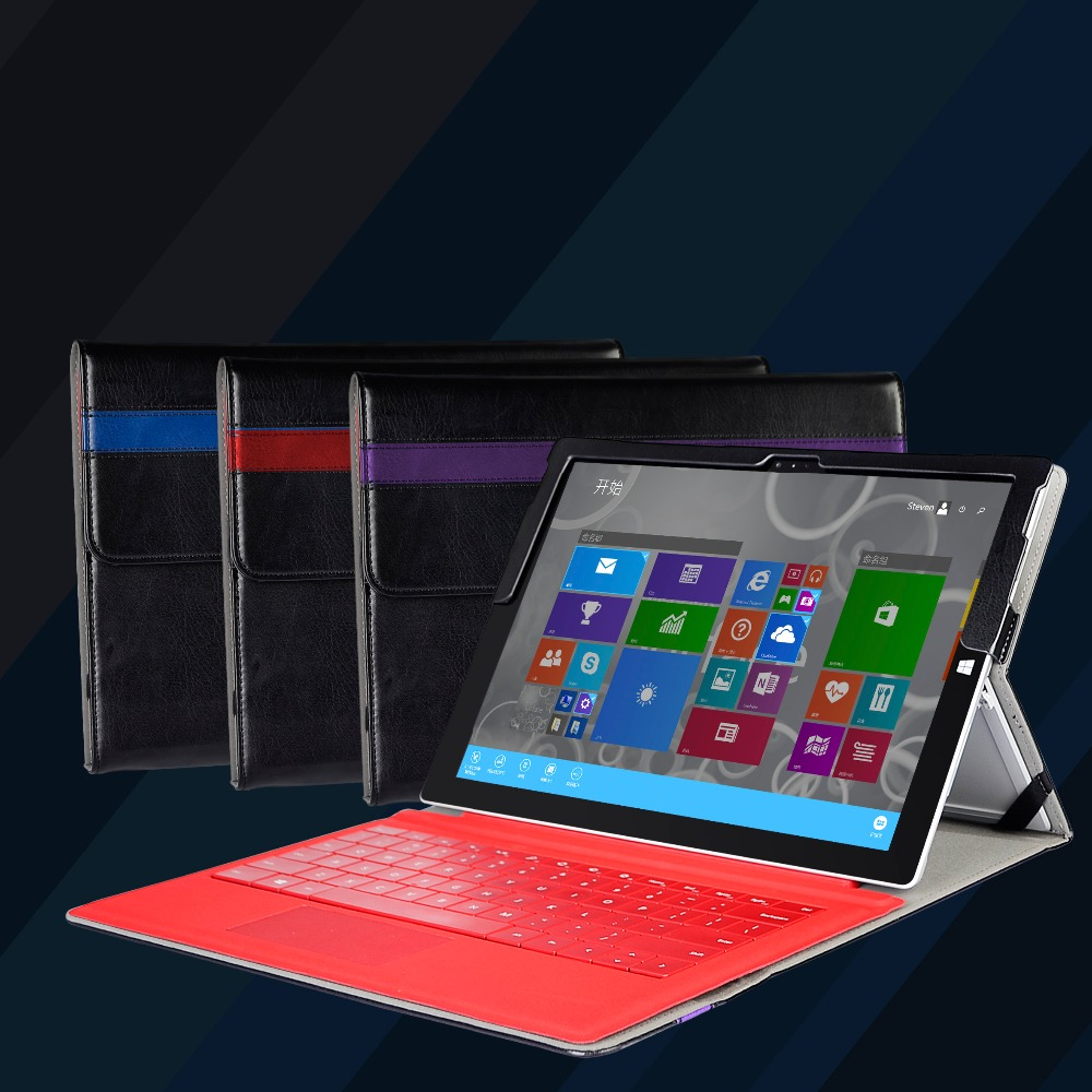Premium PU leather folio sleeve stand cover case with stylus holder for Microsoft surface Pro 3