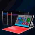 Superior de la pu funda folio de cuero del soporte de la cubierta case con soporte para el lápiz para microsoft surface pro 3 pro 4 12 pulgadas windows tablet piel