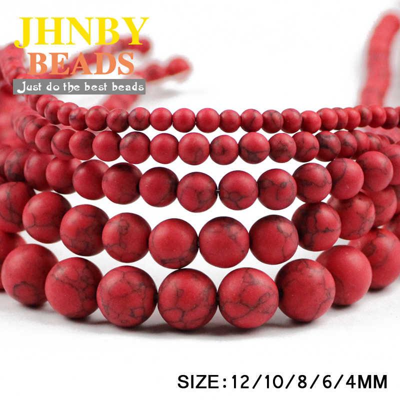 JHNBY Matte Red calaite Tự Nhiên Đá Vòng bi 4/6/8/10/12 MÉT Loose hạt đối jewelry Finding làm phụ kiện vòng đeo tay DIY