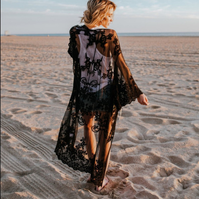 Fashion 2019 Swim Long Maxi Dress New Beach Wear Women Cover Up Summer Boho Swimsuit Cover Up Sexy Lace Hollow Out Beach Dress 4