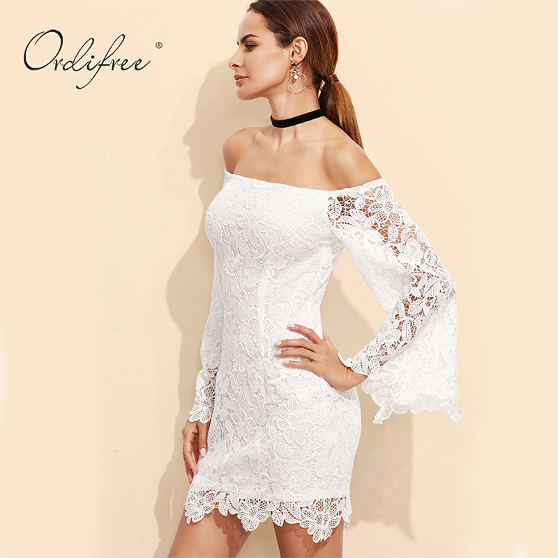 e584db4238d Ordifree 2019 Summer Floral Embroidery Sexy Mini Dress Women Bodycon Off  Shoulder Long Sleeve Short White Lace Dress-in Dresses from Women's  Clothing on ...